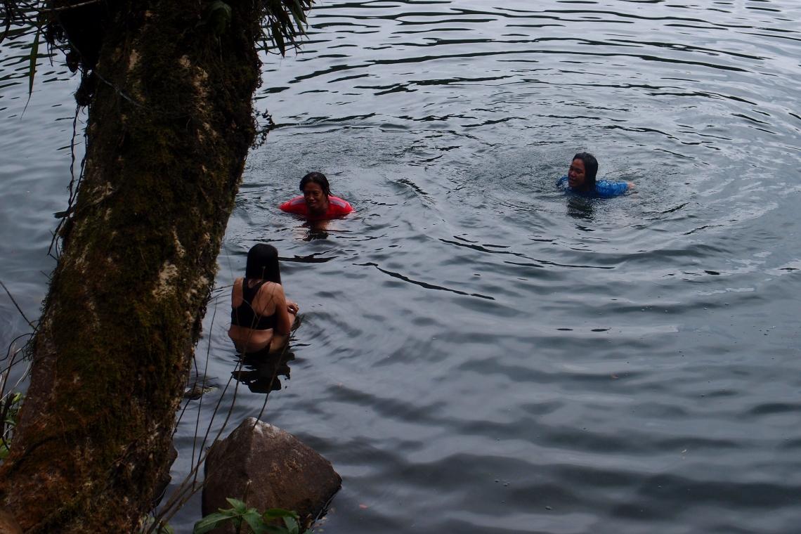 Swimming time for Haiz, Cristine & the organizer's Ms Ai & Ms Charo.