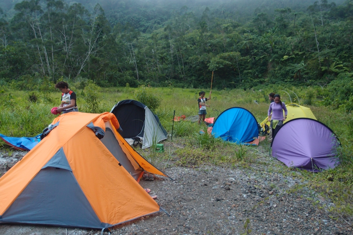 COAT (Cebu Outdoor Adventure Team) campers in colorful tents!