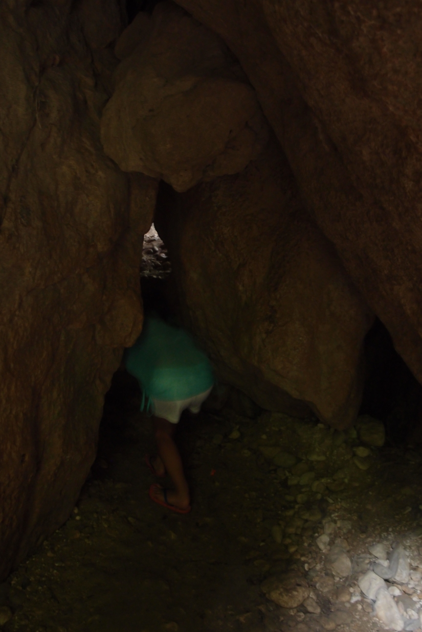 The first of countable stone crawling while exploring the falls!