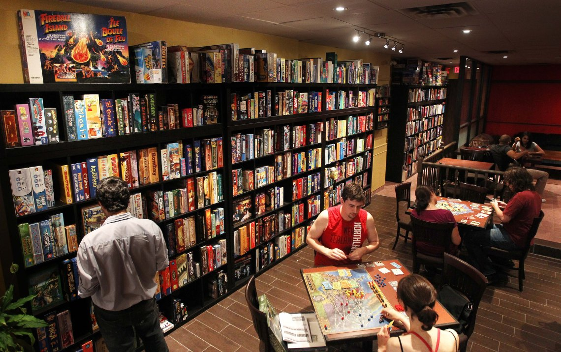August 31, 2010 Snakes and Lattes, a pro board game, anti-internet cafe on Bloor Street West has 1500 games on site. in Toronto TORONTO STAR/STEVE RUSSELL