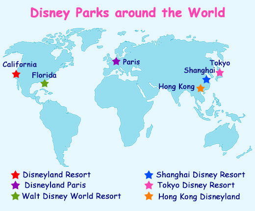 Disneyland Locations World Map.Map Locating Disney Parks In The World The Wander Full Life